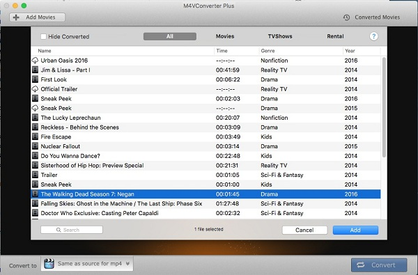 Add iTunes videos to the program