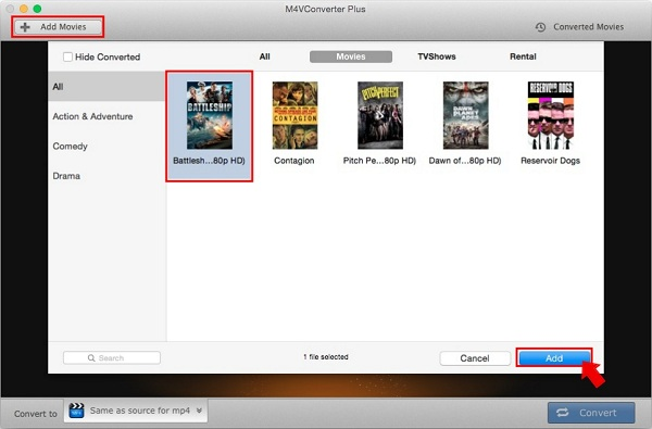 Import iTunes videos to M4V Converter Plus for Mac