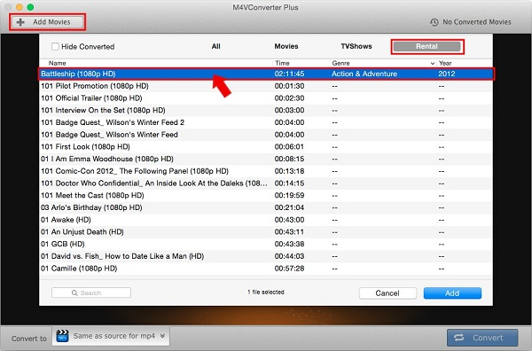Add iTunes rented movies to the converter