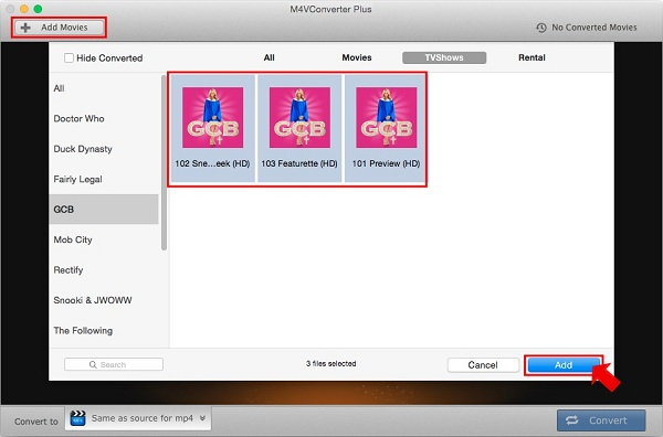 Add iTunes TV shows to convert