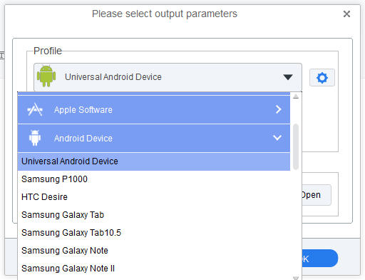 choose output format for your android devices